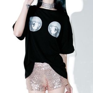 WILDFOX | Black Disco Ball Tee - M1